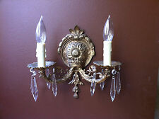 Antique Brass Wall Sconces Crystals Matching Pair Set of Two Chandeliers 2 Vtg
