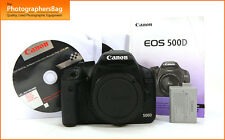 Canon EOS 500D 15MP DSLR Camera Body Battery 2,178 Shots  Free UK Post