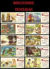 Lot 10 buvards anciens BISCUITERIE PETITJEAN publicité pub bateaux animaux chiot