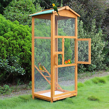 Wooden Large Bird Cage 65″ Pet Play Covered House Ladder Feeder Stand Outdoor