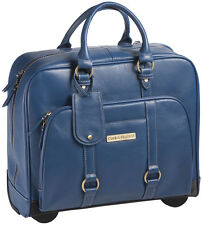 "Clark & Mayfield Hawthorne 17.3"" Leather Rolling Laptop Bag Briefcase - Blue"