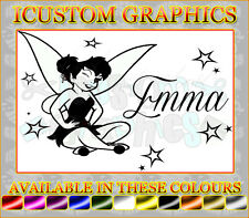 personalised NAME tinkerbell fairy dust girls vinyl car sticker laptop wallart