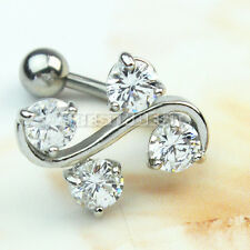 Body Piercing Jewelry Rhinestone Vine Stainless Steel Reverse Navel Belly Ring