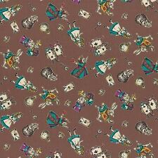 Lecien Fabric - Alice in Wonderland - Girl's Story - Brown -100% Cotton Shirting