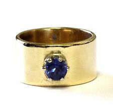 14k yellow gold thick band created blue sapphire ring 7.9g estate womens ladies