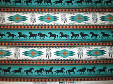 Navajo Native American Totem Horse Border Teal Black Cotton Fabric FQ