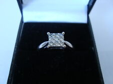 LOVELY 18CT WHITE GOLD SQUARE DIAMOND CLUSTER RING 0.25 UK-N 9 DIAMONDS