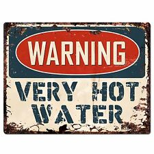 PP1038 WARNING VERY HOT WATER Plate Rustic Chic Sign Home Store Decor Gift