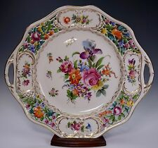 DRESDEN CARL THIEME Handled Hand Painted Reticulated Cake Plate - A