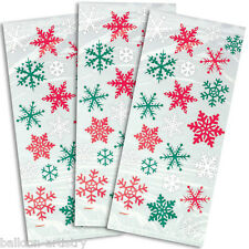 20 Christmas Red Green Snowflakes Cello Party Favour Gift Bags & Twist Ties