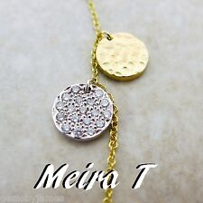 "MEIRA T 14K SOLID 2 TONE GOLD DIAMOND MODERNIST COLLAR PENDANT NECKLACE 16"" MINT"