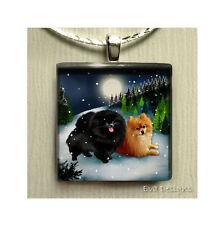 POMERANIAN DOG BLACK NECKLACE CHARM JEWELRY PET ART GIFT GLASS TILE PENDANT