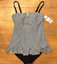 Spanx 2691 BLACK WHITE THIN STRIPE ONE-PIECE SWIMSUIT RUFFLE SWIM DRESS sz 8 NWT
