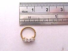 Gold Titanium Triple Clear CZ Crystal Cartilage Daith Seamless Hoop 16 gauge 16g