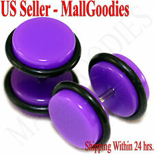 2034 Purple Violet Fake Cheater Illusion Faux Ear Plugs 16G Bar 00G = 10mm 2pcs