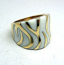 LADIES WHITE ENAMEL FASHION RING STAINLESS STEEL 316L GOLD BAND Size Selectable