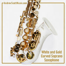 Curved Soprano Saxophone, White - Suitable for both Professionals and Students