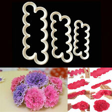 3Pcs Carnation Flowers Cake Decor Fondant Sugarcraft Pastry Mold Cutter Tools