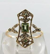 DIVINE LONG 9K 9CT GOLD VINTAGE INS PERIDOT & DIAMOND RING FREE RESIZE