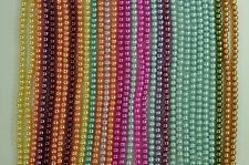 Wholesale Lot 30 Strands 4mm Glass Pearls Smooth Round Beads Mixed Colors Bulk