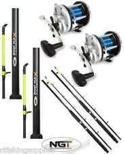 2 x 25LB 6FT 2 PIECE NGT BOAT RODS + 2 x JD500 MULTIPLIER REELS SEA FISHING
