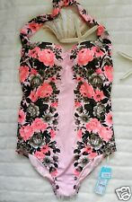 Seafolly Bella Rose 14AUS Vintage Maillot One Piece Sugar Pink New $180 SALE