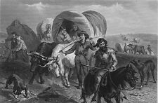 OREGON TRAIL SETTLERS CROSS PLAINS TO WEST IN WAGONS ~ 1874 Art Print Engraving