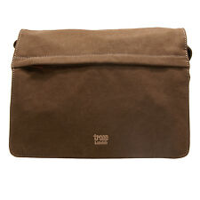 Troop London - Brown Classic Canvas Messenger Bag with Leather Trim
