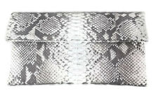 GENUINE PYTHON SNAKESKIN LEATHER WOMEN FOLDOVER ENVELOPE CLUTCH BAG NATURAL