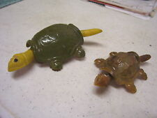 TWO VINTAGE PLASTIC NODDING TURTLES, ONE IS CHETNEY GERMANY GREAT COND!