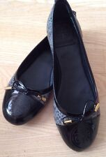 TORY BURCH Black/snake Round Toe Gold Tone Detail Ballet Flat Shoes Sz 5