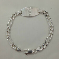 16.5g Sterling Silver 6mm Figaro Link Chain Medical ID Bracelet, Free Engraving