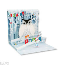 3D Snowy Owl Pop Up Card Christmas Card by Up With Paper Treasures #1056
