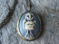 SPOOKY BARN OWL CAMEO LOCKET (hand painted blue) -ANTIQUED BRONZE, VINTAGE LOOK