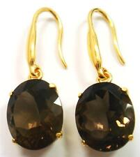 NEW 14K YELLOW GOLD OVER 925 STERLING SILVER SMOKEY TOPAZ EARRINGS E535