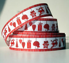 """Red Christmas Mix 7/8"""" grosgrain ribbon 4 yds. reindeer trees hearts gifts star"""