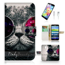 Samsung Galaxy S5 Print Flip Wallet Case Cover! Charm Pussy Cat Glass P0379