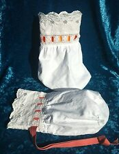 White vintage embroidered cotton handbag purse ribbon drawstring wedding bag