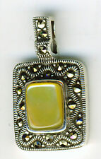 "925 Sterling Silver Pale Yellow Mother of Pearl & Marcasite Pendant 1"" x 5/8"""