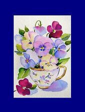 Vintage Pansies in Cup Stillife Original  Watercolor Flower Painting 4 x6 in
