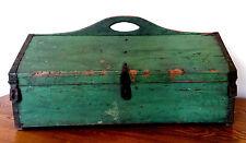 Antique Orig Apple Green Paint Primitive Wood Iron Carpenter Tool Chest Box AAFA