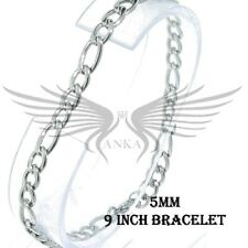 """Men's Figaro Chain Bracelet with Lobster Lock Stainless Steel 5mm 9"""" STB418"""