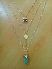 Ladies Gold Multilayer Choker Statement Bib Chain Key,StonePendant Long Necklace