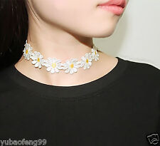 80s 90s Vintage Daisy Flower Choker Chain Necklace Yellow & White Boho 1pcs