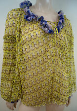 JUST CAVALLI Yellow Silk Sheer Floral Print Ruffle Long Sleeve Blouse Top Sz42