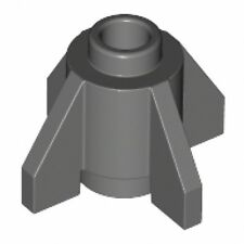 LEGO - Brick, Round 1 x 1 with Fins (X2) - Dark Bluish Gray