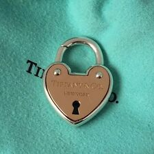 Tiffany Co New York Silver & 18kt Rose Gold Arc Heart Lock Padlock Pendant Charm