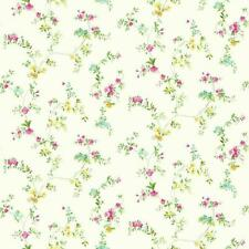 Wallpaper Traditional Small Print Watercolor Floral Vine Pink Yellow Green Aqua