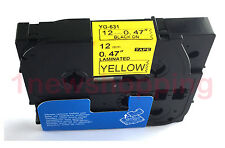 Black on Yellow Label Tape Compatible for Brother TZ TZe 631 Tze631 Tze-631 12mm