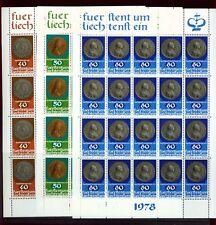 LIECHTENSTEIN, 1978 Münzen und Medaillen 710/12 Kleinbogen **, (16028)